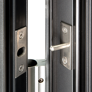 Security pins on Groke aluminium front doors