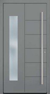 Modern door model with stainless steel sash bars and glass from the Eleganz series