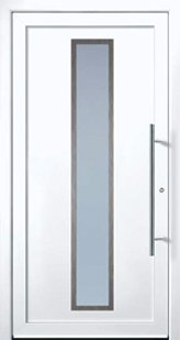 Door model with stainless steel elements from the Ideal series in white